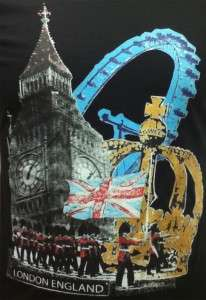 Ladies London Big Ben Crown Black fitted t shirt   Souvenir British