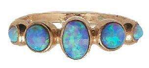 buy new Rose pink gold fire blue OPAL RING oval ct gemstone jewelry