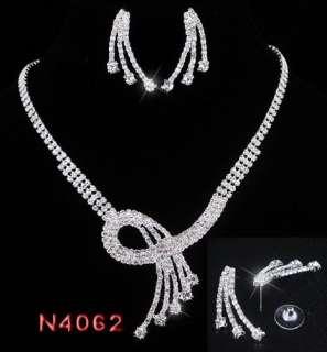 Bridal Bridesmaid Necklace Prom Set Earrings Czech Rhinestone Crystal