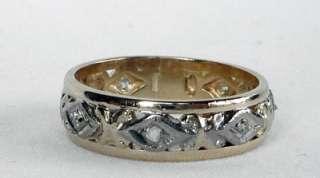 ANTIQUE 14K GOLD ART DECO ROSE CUT DIAMOND ETERNITY WEDDING BAND RING