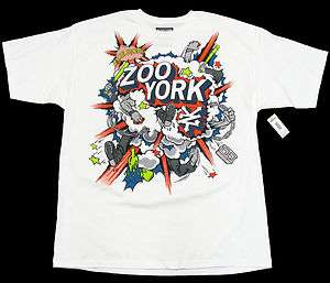 ZOO YORK Mens White/Blue/Orange Tee Shirt NWT