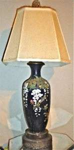 LG ANTIQUE JAPANESE WIRELESS CLOISONNE VASE LAMP MEIJI WISTERIA BIRD