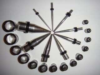 Stainless STEEL 22 Pc Ear Taper/PLUG Kit 14G 0G Gauges