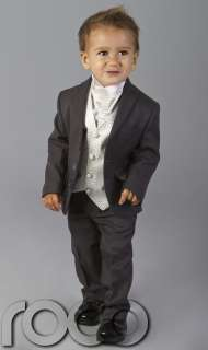 BABY TODDLERS BOYS WEDDING PAGEBOY OUTFITS GREY IVORY CRAVAT SUIT AGE