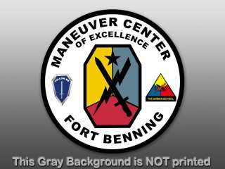Round Fort Benning Seal Sticker  decal army military us |