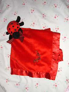 Bearington Security Blanket Red Ladybug Baby Lovey Velour Satin Soft