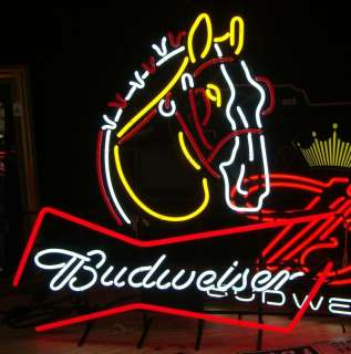 New In Box Budweiser Clydesdale Horse Large Neon Beer Sign Light