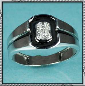 NEW 10K WHITE GOLD MENS REAL DIAMOND RING