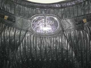 MARCIANO BLACK COOL DISCO LARGE HOBO TOTE BAG EMBOSSED SIGNATURE