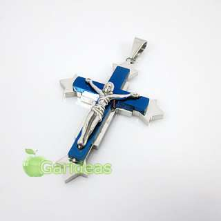 Mens Blue&Silver Stainless Steel Jesus Cross Chain Pendant Necklace