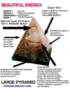 Orgone Pyramid 24K GOLD , Crystal Gemstone, Pyramid Reiki Feng Shui
