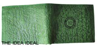 GREEN ELEPHANT SKIN LEATHER CLUTCH COIN POUCH WALLET AA