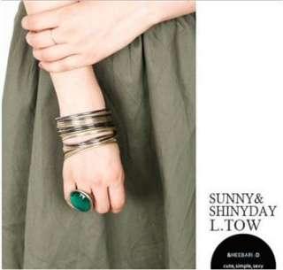 Fashion Vintage Retro Style Big Green & RhineStone Ring w155 great