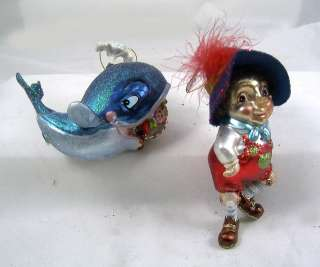 PINOCCHIO BOY AND WHALE Story Book glass Christmas Ornaments NEW Set