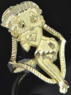 10K Yellow Gold Large Betty Boop Cartoon Diamond Cut Cocktail Band