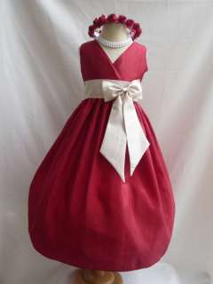 APPLE RED CHAMPAGNE FLOWER GIRL PAGEANT DRESS 1   14