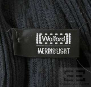 Wolford Dark Grey Stretch Mock Neck Long Sleeve Top Size Small