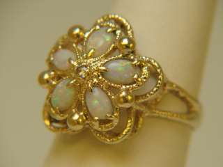 14K Yellow Gold Oval Opal & Diamond Estate Ring