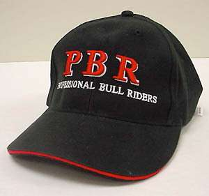 PBR Professional Bull Riders Baseball Cap Black W/ Red