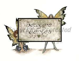 Amy Brown Print Beware of Faeries Fairy Faery Sign New