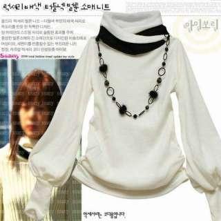New WomenS Fashion Classic Stylish Long Sleeve Shirt Tops Black/White