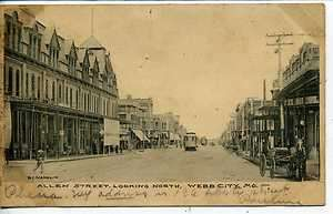 WEBB CITY MISSOURI DOWNTOWN ALLEN STREET SCENE ANTIQUE VINTAGE