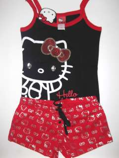 WMS Womans JR HELLO KITTY Pajama PJ Shorts SET SLEEPWEAR M L XL Black
