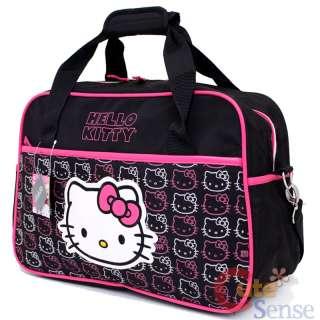 Sanrio Hello Kitty Duffle Bag Travel Gym Bag Large Face Black Pink