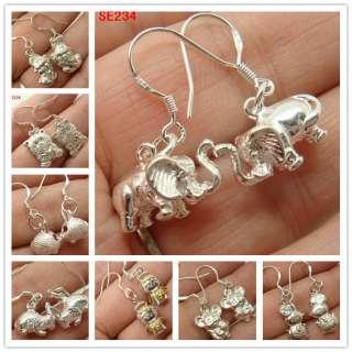 cute Animal 925 Sterling Silver Woman charms Earring Pendants eardrop