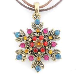 Cute Gold tone Full Crystal Flower Double NECKLACE