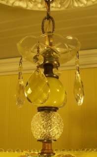 DECO LEMON DROP W/VASELINE GLASS STEM CEILING LIGHT FIXTURE CHANDELIER