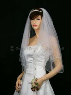 2T White AB Crystal Teardrop Scalloped Beaded Metallic Edge Bridal