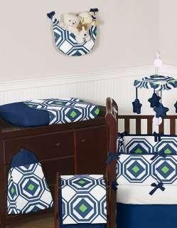 GEOMETRIC NAVY BLUE LIME GREEN DESIGNER BOY GIRL BABY BEDDING CRIB SET