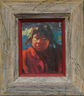Phil Kooser Quileute Indian Girl, Cute original painting Washington