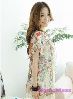 Red/White Print NEW Chiffon Floral Mini Dress US sz S