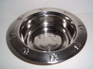 QUART STAINLESS STEEL DOG DISH FOOD WATER DISH BOWL