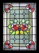 FANTASTIC ART NOUVEAU LARGE STAINED GLASS WINDOW