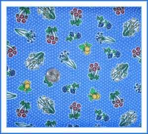 BOOAK Fabric Dot Quilt Cotton Lemon Blue Flower 4 Kitchen Fruit