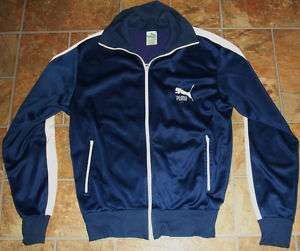 VTG Puma Mens Track Jacket S Dark Blue & White 70s 80s
