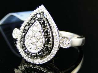 WOMENS UNIQUE BLACK/WHITE DIAMOND FASHION RING 1/2 CT