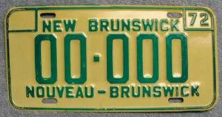 1972 New Brunswick Canada SAMPLE License Plate #00 000