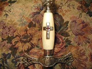 RARE Old 1850s Masonic KNIGHTS TEMPLAR SKULL TOMB SWORD Medieval