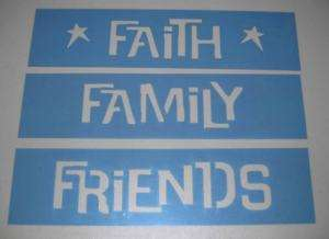 Stencil Faith Family Friends Primitive Country Blocks