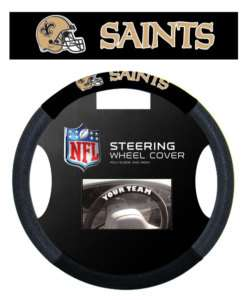 NEW ORLEANS SAINTS MESH SUEDE CAR STEERING WHEEL COVER