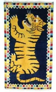 TIBETAN TIGER RUG Carpet Hand Woven 100% Wool 58 x 32