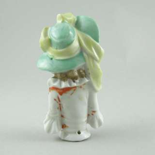 Vintage China Half Pin Doll Green Hat with Large Bow K1