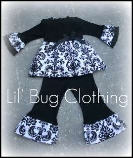 Custom Boutique Christmas Damask Black White Set
