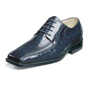 Stacy Adams Santino Ostrich Print Mens Leather Dress Shoes Navy 24195