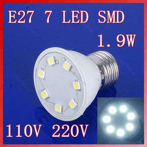 9W 7 LED SMD Pure White Light Bulb 220V Energy Saving Lamp