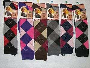 Womens Ladies Knee High Argyle Socks   gift idea for her Fun socks 12